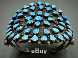 Amazing Énormes 40s Vintage Zuni Sterling Silver Turquoise Cluster Bracelet