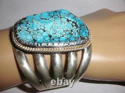 Amazing Vintage Grand Bracelet En Argent Navajo Turquoise Sterling