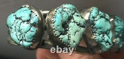 Amérindien Old Pawnturquoisenuggetsterling Silvercuffbracelet 60g Vtg