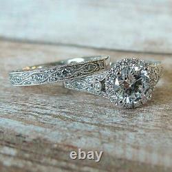 Ancien Ensemble De Bagues De Mariage Engagement 2,50 Ct Ronde Taille Diamant 14k Or Blanc Sur