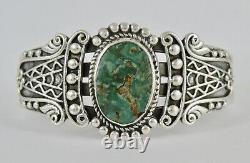 Ancien Vintage Fred Harvey Era Sterling Argent Vert Turquoise Cuff Bracelet
