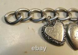Ancien Vintage Sterling Argent Puffy Bracelet De Charme Coeur 9 Charms Heart Catch