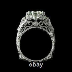 Ancienne Filigre Vintage Art Déco Bague De Mariage 14k Or Blanc Sur 2.1ct Diamant