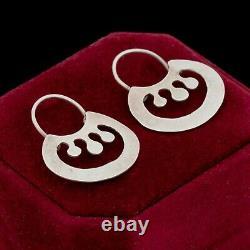 Ancienne Vintage Deco MID Century 925 Argent Sterling Boucles D'oreilles Modernistes 3g