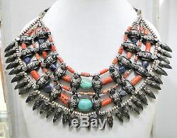 Anciennes Ethnique Tribal Argent 925 Corail Perles Turquoise Collier