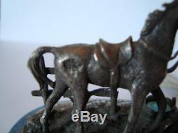 Anciennes Russe Argent 84 Émail Cheval Figurine Marbre Maker A