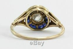 Antique 3tc Round Diamond Bezel Bague De Mariage Vintage 14k Or Jaune Fn