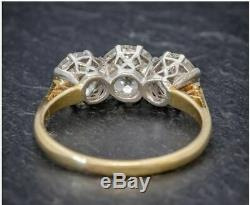 Antique 4.25. Ct Diamant Blanc Rond Taillé Art Déco Vintage Mariage Bague Argent 925