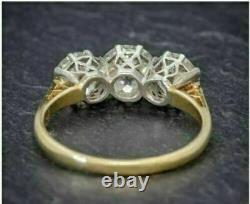 Antique 5,25. Ct Diamond Blanc Rond Coupe Art Déco Vintage Bague De Mariage 925 Argent