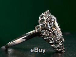 Antique Art Déco Bague De Fiançailles Vintage 2.9 Ct Poire Diamant 14k Or Blanc Plus