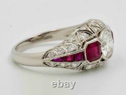 Antique Art Déco Blanc Et Rouge Ruby Diamond Bague De Fiançailles 925 Argent
