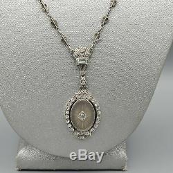 Antique Art Déco Camphor Verre En Argent Sterling Gravé Coeur Collier Chaîne 17