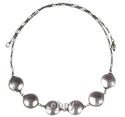 Antique Art Déco Sterling Silver Pools Of Light Rock Crystal Orb Collier