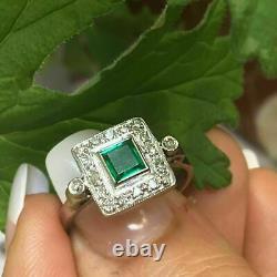 Antique Art Déco Vintage Emerald & Diamond Halo Solid Anneau 14k White Gold Finition
