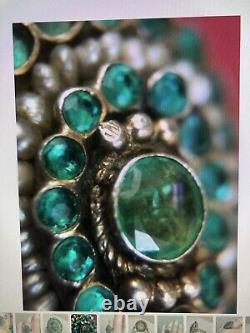 Antique Edwardian Emerald Seed Pearl Ring Taille 8 Anniversaire De Mariage De Fiançailles