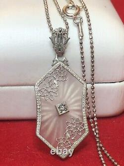Antique Estate Sterling Silver Camphor Glass Diamond Pendentif Collier Art Déco