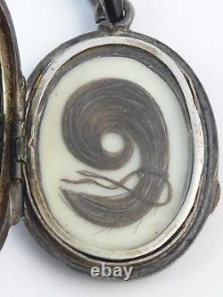 Antique Français Sterling Silver Black Enamel & Onyx Locket Pendentif Cheveux De Deuil