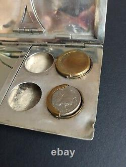 Antique Ladies Sterling Silver Bag Ep Chantait Compact Purse Coin Holder