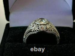 Antique Late Art Deco Fiançailles Vintage Bague 14k Or Blanc Plus De 1.8 Ct Diamond