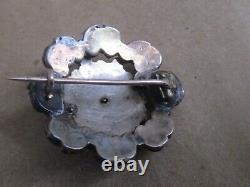 Antique Or Victorien Gilt Argent Bohème Rose Cut Garnet Pin Brooch 1860's
