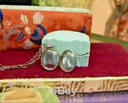 Antique Piscine En Argent Sterling Victorienne De Photo Lumière Et Pendentif Chaîne Locket Nec