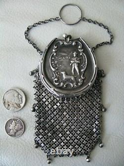 Antique Sterling Argent Châtelaine Hunting Scene 8 Tassel Chain Mail Coin Purse