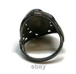 Antique Sterling Silver Art Nouveau Véritable Baroque Rivière Perle Leaf Ring Sz 3.5