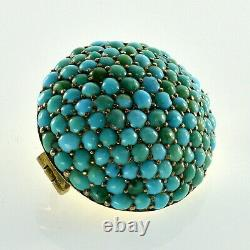 Antique Victorian 10k Or Turquoise Brooch Pave Pin C. 1860