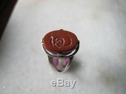 Antique Victorian Argent Gravé Serpent Rouge Jasper Stone Ring