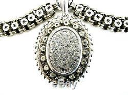 Antique Victorian English Argent Sterling Gravé Médaillon Bookchain Collier