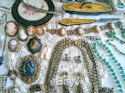 Antique Victorian Nouveau Vintage Bijoux Lot 800 Gf Shell Camées Livre Chaîne +++
