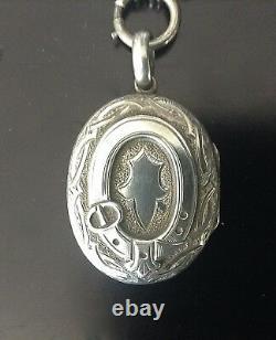 Antique Victorien Anglais Sterling Collier Chaîne En Argent + Boucle 38 Grammes