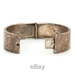 Antique Victorien Vintage En Argent Sterling Anglaise Chased Mariage Bracelet