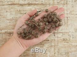 Antique Victorien Vintage En Argent Sterling Filigrane Corde Twist Long Collier De Perles