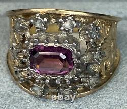 Antique Victorienne Rose-cut Diamond Amethyst 18k Rose Or Sterling Silver Ring
