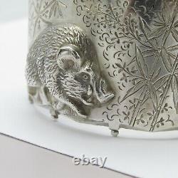 Antique Victorienne Sterling Argent Boar Pig Haute Relief Aesthésie Bracelet