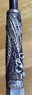 Antique Vintage 19c Bâton De Marche Canne Argent 925 Nacre 34,5