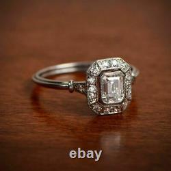 Antique Vintage Art Déco 1.50 Ct Emerald Cut Diamond Engagement Ring 925 Argent