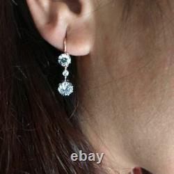 Antique Vintage Art Déco 3.55ct Diamond Dangle Lever Back 14k Gold Over Earrings