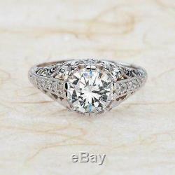 Antique Vintage Art Déco Bague De Fiançailles 2.2ct Diamant Rond En Or Blanc 14k Plus