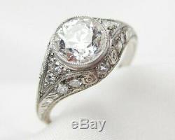 Antique Vintage Art Déco Bague De Fiançailles De Mariage 2ct Diamant Argent 925