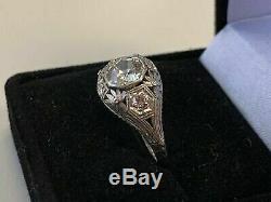 Antique Vintage Art Déco Bague De Fiançailles Fin 2 Ct Diamant Or Blanc 14k Terminer