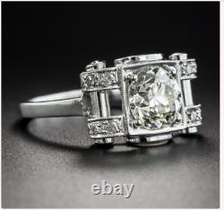 Antique Vintage Art Déco Mariage Milgrain Anneau 14k Or Blanc Sur 2.2ct Diamant