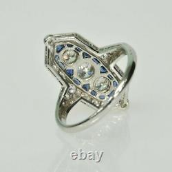 Antique Vintage Art Déco Wedding Ring 2.28 Ct Blue Sapphire 14k White Gold Over