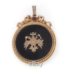 Antique Vintage Art Nouveau Sterling 84 Argent Russe Diamant Ruby 2.5 Pendentif