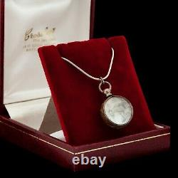 Antique Vintage Art Nouveau Sterling Silver Pool Of Light Crystal Glass Collier