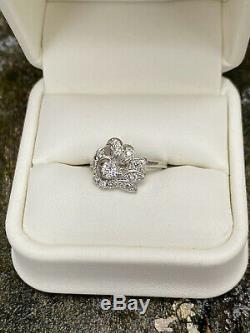 Antique Vintage Bague De Fiançailles De Mariage 1.26ct Diamant Rond En Or Blanc 14k Plus