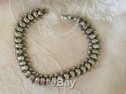 Antique Vintage Bijoux Victorienne En Argent Sterling Chaîne Bijoux Bracelet