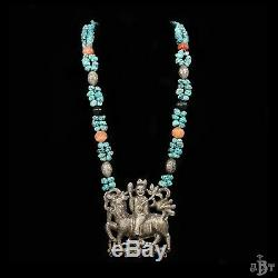 Antique Vintage Chinois Deco Argent Sterling Turquoise Kylin Rider Collier