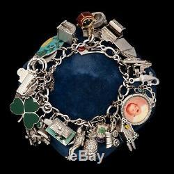Antique Vintage Deco Milieu Du Siècle En Argent Sterling Or 14k Heavy Bracelet À Breloques